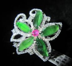 Natural Jadeite with ruby and 0.70 ct. diamond flower ring made of 18K white gold, incl. HK certificate