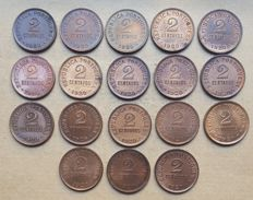 Portuguese Republic – Large lot of 18 copies – 2 Centavos 1920