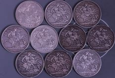 United Kingdom - Lot of 10 x Crown - 1887/1992 - Victoria - silver