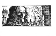 Swolfs, Yves - original drawing - Prince (Le Prince de la nuit) - drawing for a bookplate