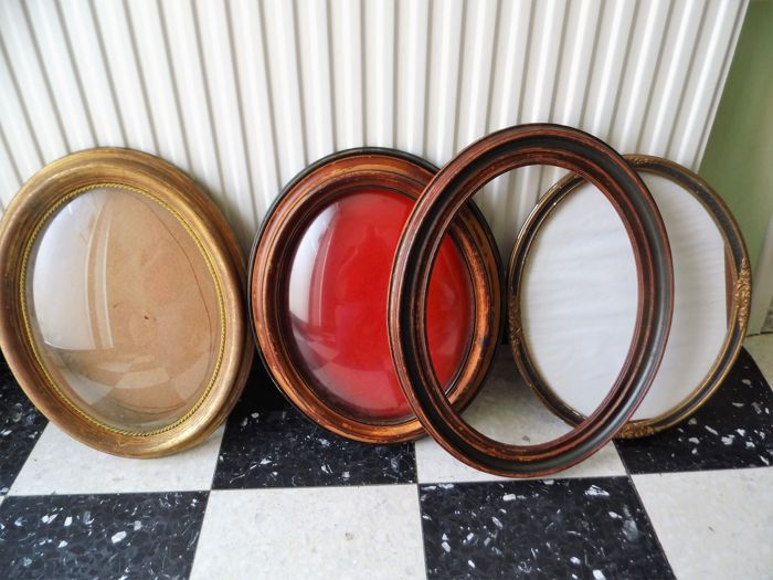 Two Old Wooden Oval Picture Frames With Convex Glass And Two