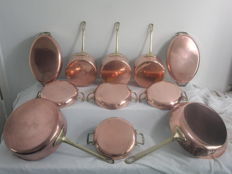 11 copper pans - frying pans - oven scales