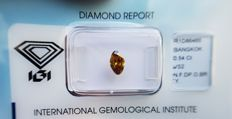 Natural Diamond - 0.54 ct - Fancy Modified Brilliant cut - Natural Fancy Deep Orangy Brownish Yellow VS2