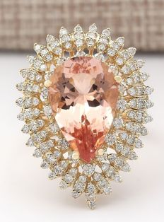 7.96 Carat Natural Morganite And Diamond Ring In 14K Solid Yellow Gold  *** Free Shipping *** No Reserve *** Free Resizing ***