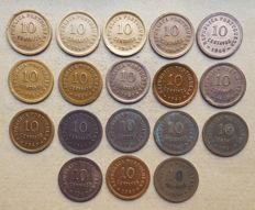 Portuguese Republic – Large lot of 18 copies – 10 Centavos 1940