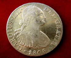 Spain - Carlos IV (1788-1808) - 8 silver reales coin - 1806 - Mexico. T·H