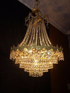 French crystal chandelier - Empire style - 6 light points, France - 2nd half of the 20th century