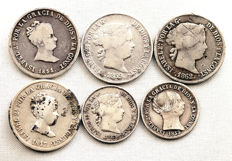 Spain Isabel II — Lot of 6 silver coins — various