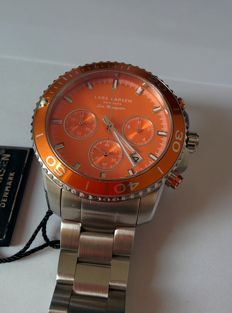 Lars Larsen Sea Navigator 134SDSB chronograph with date and stopwatch. Men's/unisex new in original box, exclusive orange colour.