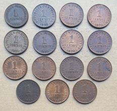 Portuguese Republic - Large lot of 15 copies - 1 Centavo 1920 Open 'P'