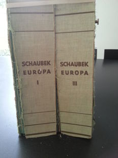 World - collection with many countries in two old Schaubek albums.