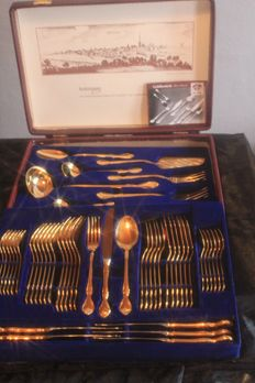 """Solingen - 56 piece PLANETA - luxury gold cutlery """"Barock"""" 23/24 carat gold-plated in original case (with fish cutlery)"""