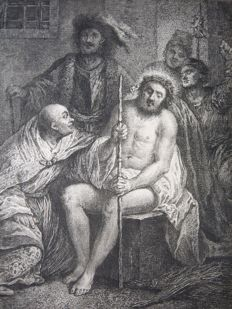 Probably Georg Friedrich Schmidt  after Rembrandtvan Rijn - Christ crowned with thorns