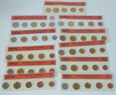 Germany - year packs 1976 through 1979 pfenning (11 pieces in total)