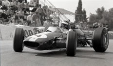 Jim Clark Team Lotus 1966 Monaco grand prix Black and White  Photograph. 54cm x44 cm.