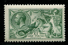 Great Britain 1913 - King George V £1 Seahorse green - Stanley Gibbons 403