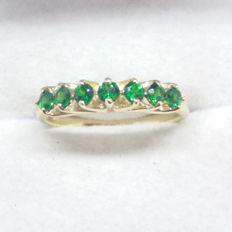 Natural and very rare 0.57cts Kenyan AAA Tsavorite Garnet Eternity band yellow gold ring.  Stunning