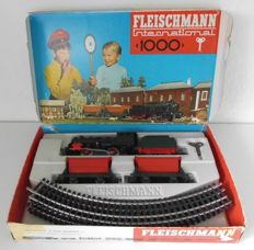 Fleischmann Western Germany - H0 track - 1000 - beginner's set with plastic steam locomotive by DB No.. 1000, 60/70's