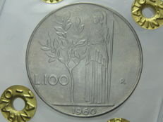 Republic of Italy – 100 Lira, 1960, 'Minerva'.