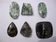 Green and Golden Seraphinite cabochons - 254.4 crt (6)