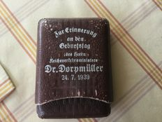 Cigar case for the birthday of the Reich Transport Minister Dr. Dorpmüller 1939