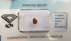 Natural Diamond - 0.55 ct - Oval cut - Natural Fancy Deep Brown / Orange SI 1