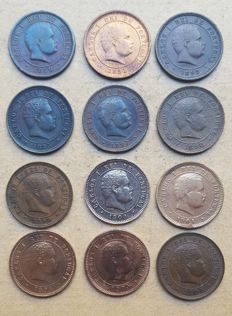 Portugal - Complete series of 5 Reis - 1890 to 1906 - D. Carlos I - Set of 12 coins