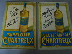 2 tin advertising signs for Chartreux oil, 1 Dutch and 1 French-speaking, 1950s