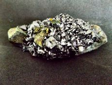 Paragenesis of black Sphalerite crystals with Marcasite crystals - 11 x 4.7 x 4 cm - 250 g