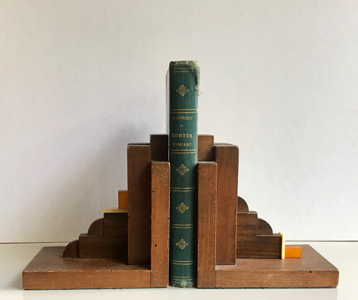 Art Deco book ends - wood and bakelite