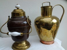 A rustic, large brass, Art Deco milk jug (2 colours) plus a copper jug for extinguishing embers - ember pot Attractive patina Craftsmanship pure music.