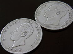 South America – Lot of 2 coins 1 Sucre & 5 Bolivar – 1897/1911 - Ecuador/Venezuela – silver