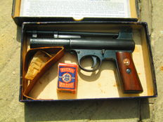 RARE Webley  Mark I Senior Air Gun with wooden stocks in original box