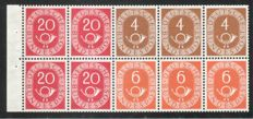 Federal Republic of Germany 1951 – Posthorn stamp booklet sheets, with edges, Michel HBl. 1, 2