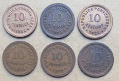 Portuguese Republic – Large lot of 6 copies – 10 Centavos 1925 & 1926