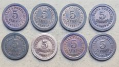Portuguese Republic – Large lot of 8 copies – 5 Centavos 1927