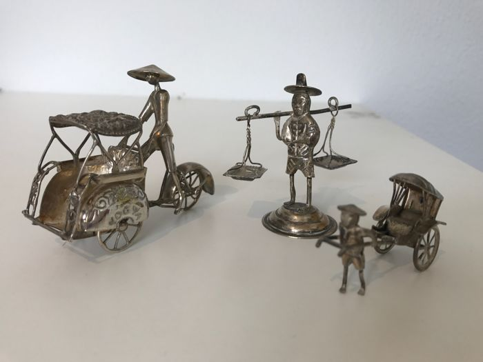 Silver miniatures, three miniatures, Indonesia, spinning wheels