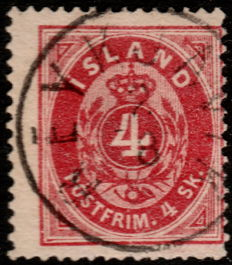 Iceland 1873 - Coat of Arms - Perf K 14:13 - Mi. 3A