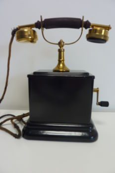 Antique Desk telephone, very special model, ATEA, early 1900s