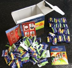 Panini Euro 2008 Austria/Switzerland- Opened box with 20 chewing gum packs and mini stickers + empty and partly filled album of mini stickers