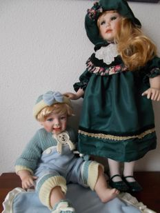 Porcelain Dolls, England - Height 54-70 cm - large porcelain girl doll plus baby brother no's 23068 and JKH2795