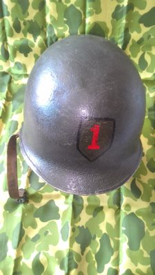 US M1 helmet, with fixed strap for front junction, Firestone liner
