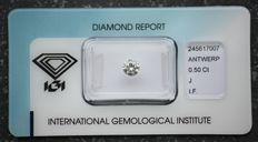 0.50 ct Brilliant cut diamond, STW (J), IF, with IGI certificate, sealed