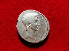 Roman Republic - Octavian. 35-34 B.C.  silver denarius (3,73 g. 18 mm) Spanish or northern Italian or mint traveling with Octavian in Illyricum.). IMP / CAE / SAR / DIVI F. Shield. Rare.