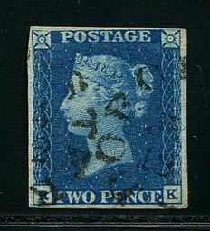Great Britain Queen Victoria 1840 - Two Pence Blue - Stanley Gibbons 5 Dorchester Town Cancellation