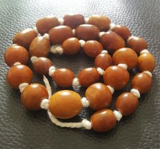 Antique Baltic Amber necklace  egg yolk butterscotch Amber,  51 gr.