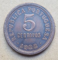 Portuguese Republic – 5 Centavos – 1922  – Rare . Top Condition
