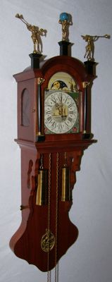Frisian tail clock with hand-painted dial and moon phase - 1988