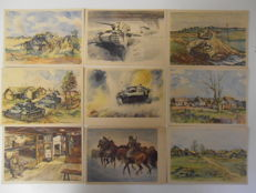 Third Reich 1941 set of 10 Propaganda cards with watercolours made on the Eastern FRONT in Russia