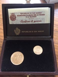 San Marino - 1 and 2 Scudi 1983 with case - gold